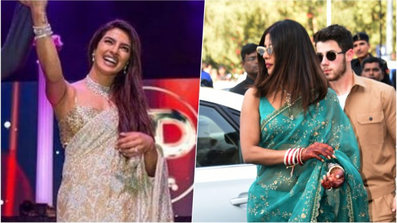 Priyanka Chopra in Sexy Sarees by Sabyasachi and Abu Jani Sandeep Khosla for Her Wedding Festivities is a Must See