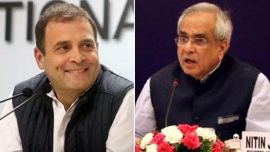 NITI Aayog Vice Chairman Rajiv Kumar Hits Back at Rahul Gandhi on Farm Loan Waiver, Says No Govt Ever Worked Like BJP