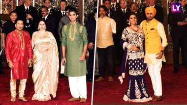 Sachin & Anjali Tendulkar With Son Arjun; Harbhajan Singh & Geeta Basra Dazzle at Isha Ambani - Anand Piramal Wedding at Antilia in Mumbai: View Latest Pictures