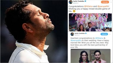 Sachin Tendulkar Makes a Blunder While Wishing Saina Nehwal & P Kashyap on Their Marriage; Shares Kidambi Srikanth's Photo with the Bride!