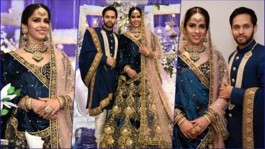 Saina Nehwal and P Kashyap Wedding Reception First Pics: Badminton Couple Look Stunning in Sabyasachi Outfits