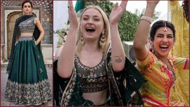Sophie Turner Looks Stunning in Green Anita Dongre Lehenga-Choli at Priyanka Chopra-Nick Jonas Mehndi Ceremony (See Pic)