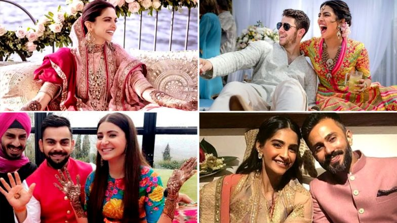 While Anushka -Priyanka Picked Colourful, Deepika -Sonam Opted for Pastel Colour Attires for Their Mehendi Ceremony - View Pics