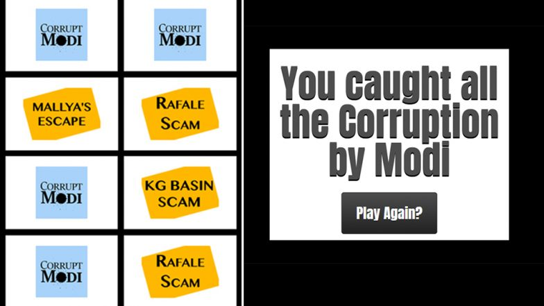 As People Wait For CM Names in Chhattisgarh, MP, Rajasthan, Congress Asks Them to Play 'Corrupt Modi Match' Game Online
