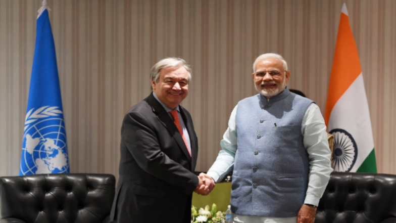 Narendra Modi Tells UN Chief Antonio Guterres That His Strong Commitment to Climate Action Is Rooted in the Vedas