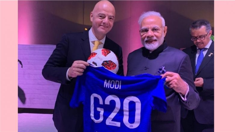 Narendra Modi Gets Custom-Made G20 Football Jersey, Writes Heart-Warming Message for Gianni Infantino