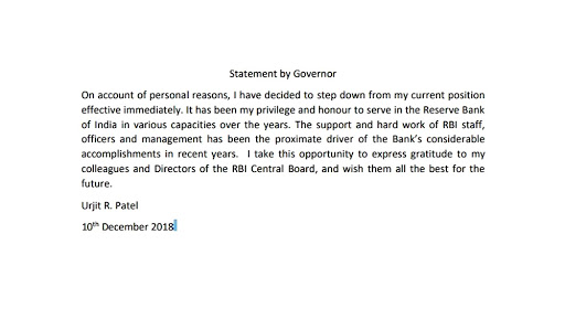RBI Governor Urjit Patel's resignation letter's full statement. | Image: ANI