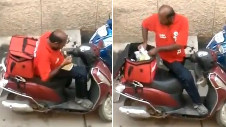 Video of Zomato Delivery Boy Eating Food From Delivery Boxes Goes Viral, Check What Zomato Replied