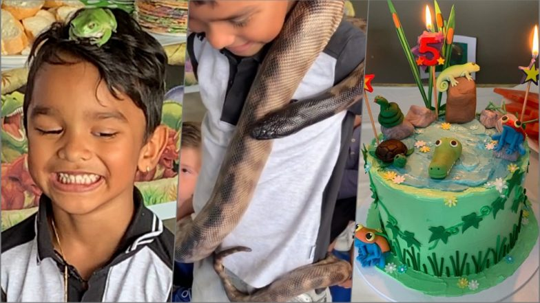 Shikhar Dhawan's Son Zoravar Celebrates 5th Birthday With Python & Other Deadly Reptiles! See Shocking Yet Exciting Pics and Videos