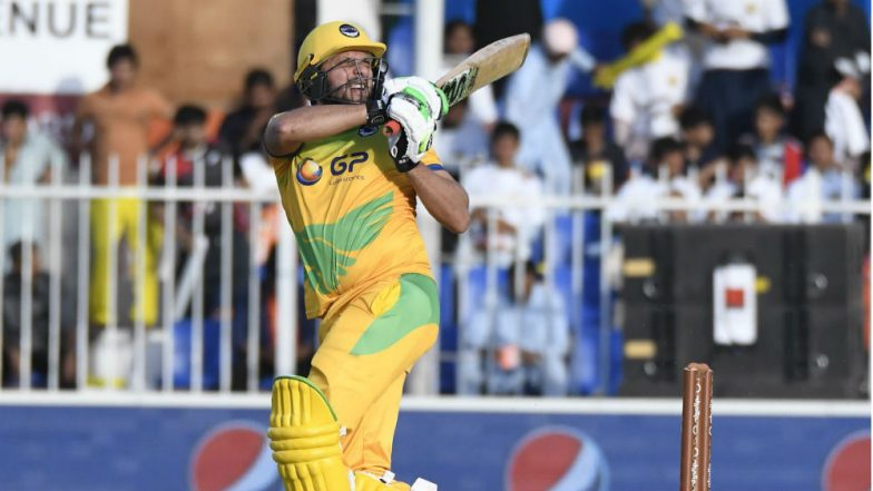 Shahid Afridi Hits Wahab Riaz for Four Consecutive Sixes Enroute to 59 off 17 Balls in the T10 Cricket League 2018, Watch Video