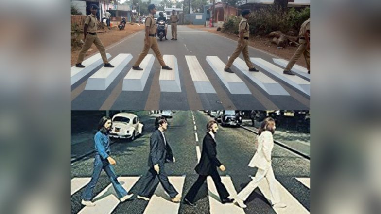 Kannur Police Replicates Beatles' Iconic 'Abbey Road' Album Cover to Promote Road Safety in the Kerala City