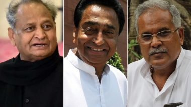 Who Will be Chief Ministers of Rajasthan, Madhya Pradesh, Chhattisgarh? Reports Say Names of Ashok Gehlot, Kamal Nath, Bhupesh Baghel Finalised; Suspense to End Soon