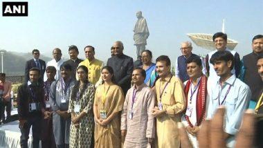 Gujarat: President Ram Nath Kovind Visits Statue of Unity, Lays Foundation for Railway Station
