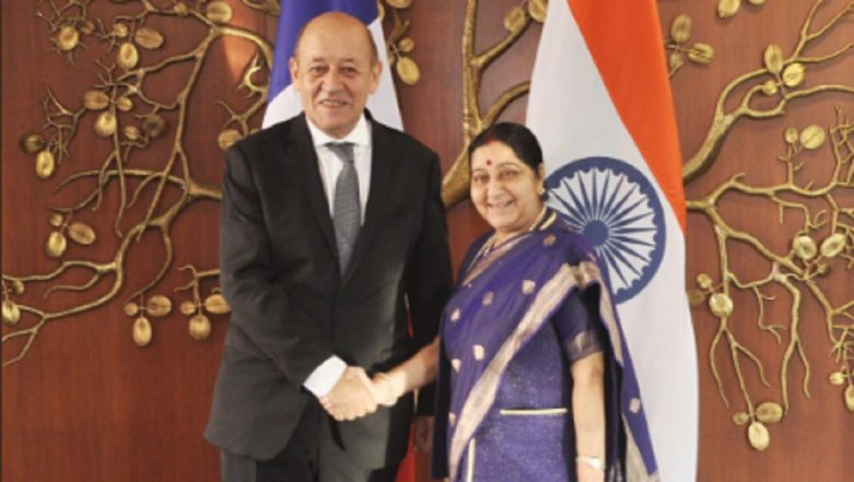 India and France Agree to Fight Terrorism Jointly, Say French Foreign Minister Jean-Yves Le Drian and Sushma Swaraj in a Joint Statement
