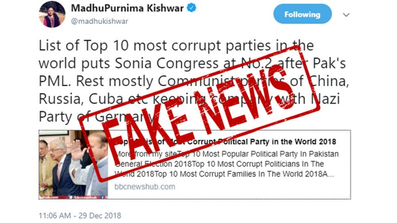Fake News Alert: Report Calling Congress Second-Most Corrupt Party in World Is NOT a BBC Survey, Exists on Dubious Site