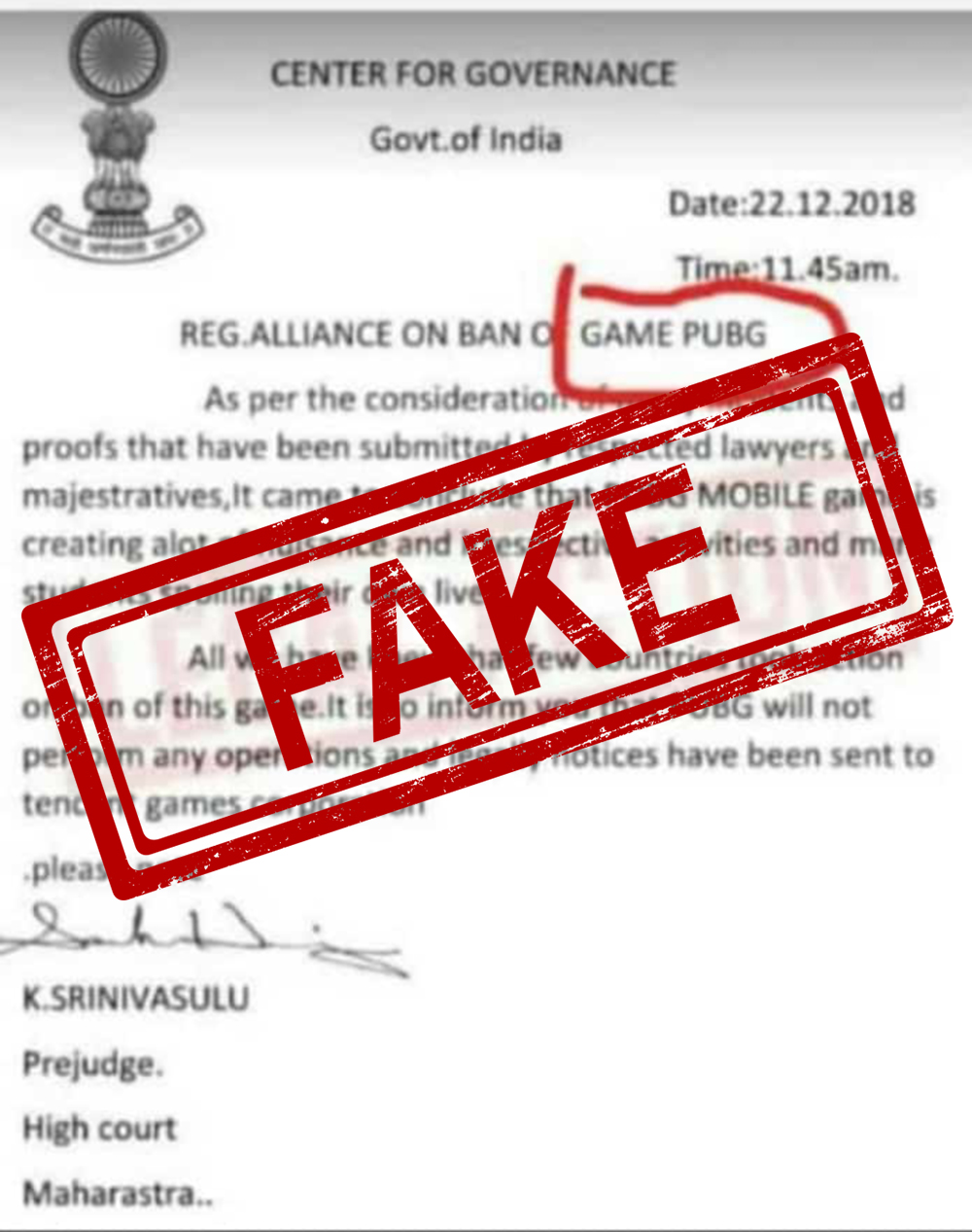 Pubg Game Banned By High Court Of Maharashtra Is Fake News Beware - pubg banned fake news photo credits whatsapp