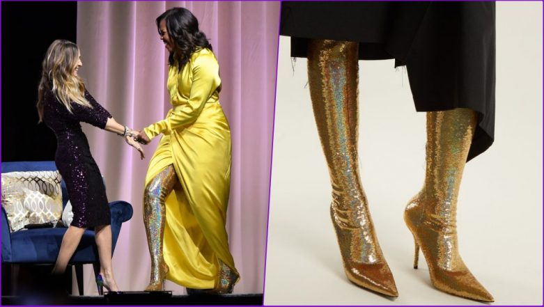 Michelle Obama Steps Out in Thigh-High Gold Balenciaga Boots and Internet Cannot Keep Calm! See Pics and Video