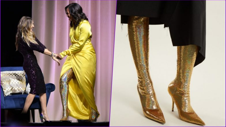 348317d4b3b Michelle Obama Steps Out in Thigh-High Gold Balenciaga Boots and Internet  Cannot Keep Calm