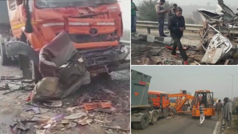Fog Leads to Accident in Jhajjar; 50 Vehicles Crash Into Each Other on Rohtak-Rewari Highway in Haryana, 8 Dead - Watch Video