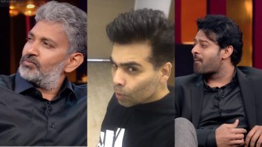 Koffee with Karan 6: Prabhas and SS Rajamouli Copying Karan Johar's Pout Is the Best Thing on the Internet Today – Watch Video