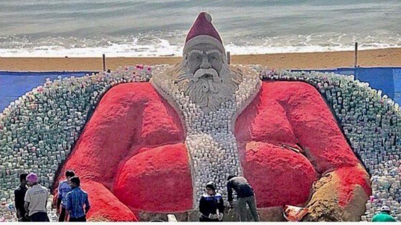 Santa Claus With Plastic Bottles! Sand Artist Sudarsan Pattnaik Attempts World Record on 2018 Christmas Eve Creating Environmental Awareness