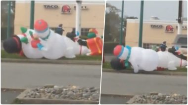 Christmas 2018: 'Snowman vs Snowman', Brookings' Inflatable Creatures Fighting Video Goes Viral