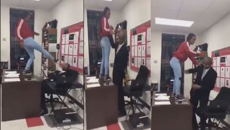 Viral Video: US Teen Student Slaps and Kicks at the Teacher While Standing on His Desk, Faces Charges