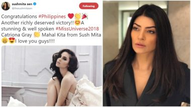 Miss Universe 2018 Catriona Gray Recieves a Warm Wish from Sushmita Sen, the Former Title Holder