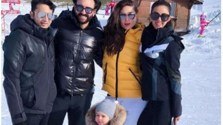 Taimur Ali Khan Looks Like a Snowball as He Poses With Parents Saif and Kareena in Gstaad (View Pic)