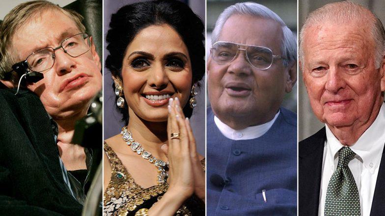 Stephen Hawking, Sridevi, George H W Bush, Atal Bihari Vajpayee: 12 Popular Celebrities Who Passed Away in 2018