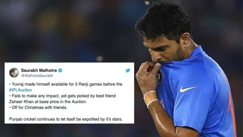 'Yuvraj Singh Just Played for IPL 2019 Auction', Fans Slam Mumbai Indians Batsman for Being 'Selfish' After Skipping Hyderabad vs Punjab Ranji Trophy 2018-19 Match