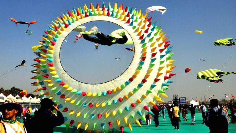 International Kite Festival 2019: Vibrant Kites Grace the Skies in Gujarat (See Pictures)