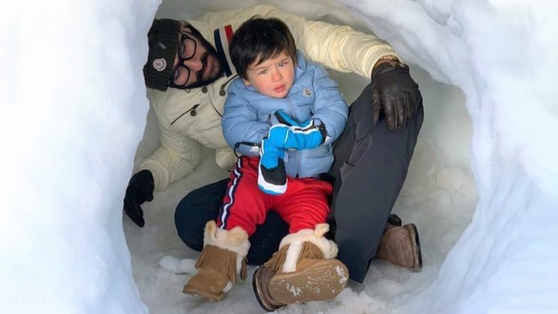 Taimur Ali Khan Is Enjoying Every Bit of His Father-Son Time With Papa Saif in the Snow-Clad Mountains of Switzerland – See Pic