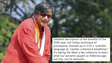 Shashi Tharoor Berates US Website For Calling Pranayam 'Cardiac Coherence Breathing,' Wins Hearts on Twitter