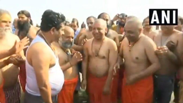 Kumbh Mela 2019: Uttar Pradesh CM Yogi Adityanath, Ministers Take Dip in Sangam; Watch Video
