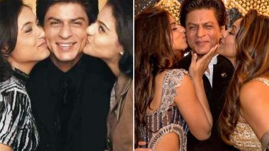 Suhana and Gauri Khan Kiss Shah Rukh Khan on His Cheeks and the Picture Helps Us Reminisce His Kuch Kuch Hota Hai Days