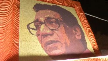 Bal Thackeray Portrait Made Using 33,000 Rudraksha Beads Displayed in Front of Shiv Sena Bhavan in Dadar; See Pics