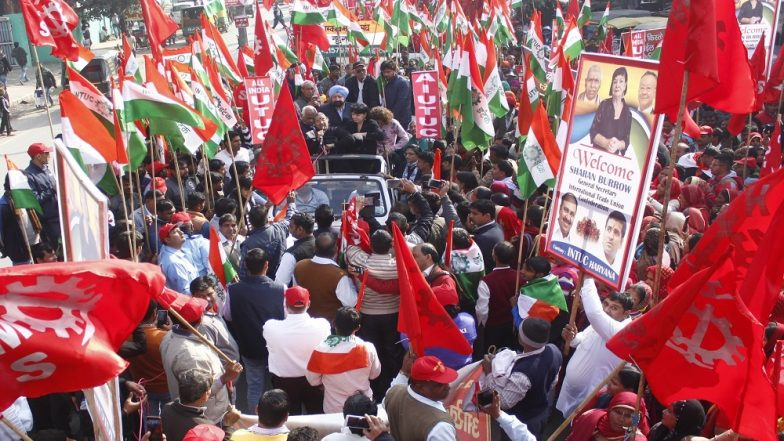 Nationwide Strike Called by Central Trade Unions Hits Normal Life Across India