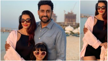 Aishwarya Rai Bachchan Looks Simply HOT in Black as She Poses With Abhishek and Aaradhya (View Pics)