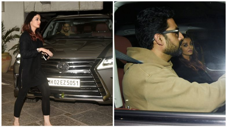 Aishwarya Rai Bachchan Looks Gorgeous in Black as She Visits Sonali Bendre's Residence With Abhishek Bachchan (View Pics)