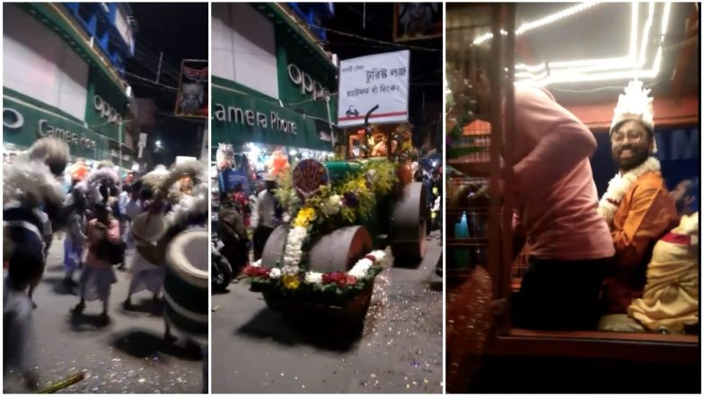 West Bengal Groom Arrives at His Wedding on a Road-Roller Surprising Guests (Watch Video)