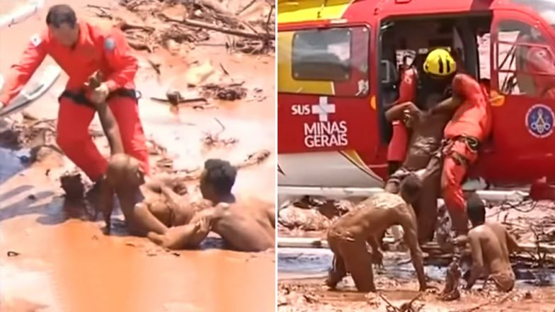 Woman Trapped in Neck-Deep Mud After Brazil Dam Collapses, Gets Rescued in Helicopter! (Watch Video)