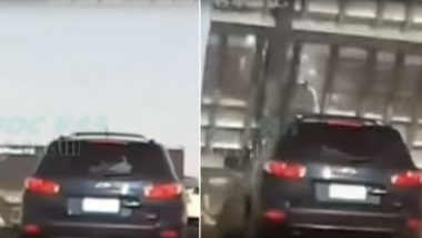 Woman Saved Miraculously After Massive Road Sign Falls on Her Moving Car at Melbourne Freeway (Watch Video)