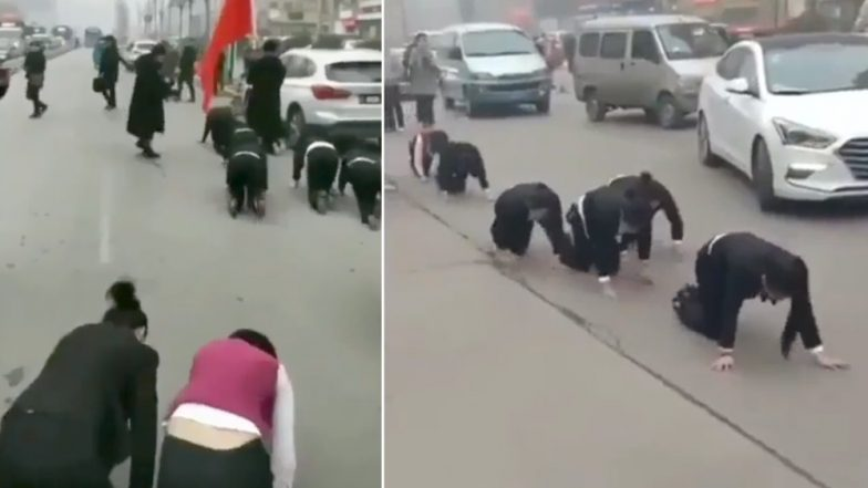 Chinese Company Makes Employees Crawl on Road as Punishment For Missing Year-End Targets; Viral Video Causes Social Media Outrage