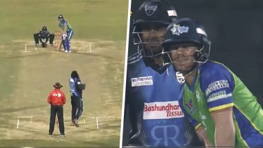 David Warner Bats Right-Handed In BPL 6! Left-Handed Sylhet Sixers' Batsman Change His Stance Mid-Match and Hits a SIX off Chris Gayle's Bowling: Watch Video