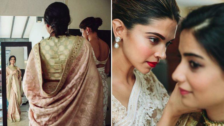 Deepika Padukone Looks Stunning in a Sabyasachi Mukherjee Saree as She Helps the Bride To Get Ready (View Pics)