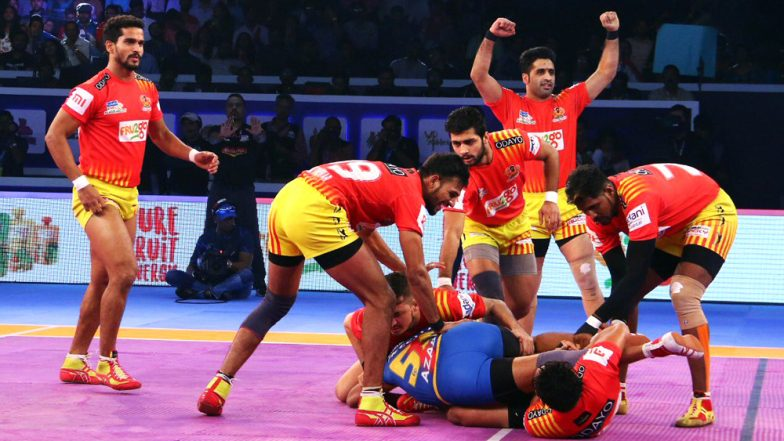 PKL 2018–19, Qualifier 2 Match Video Highlights: Gujarat Fortunegiants Defeat U.P. Yoddha 38–31 to Enter Season 6 Final