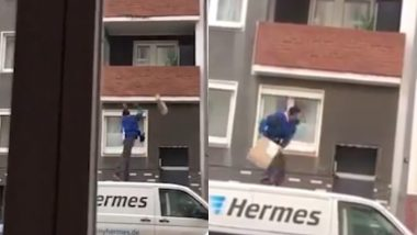 Hermes Delivery Boy Throws Package Into Balcony Standing on Top of Van, Video Goes Viral