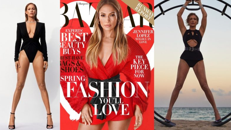 Jennifer Lopez Shows Off Her Incredible Curves in Red Gucci Dress and Saint Laurent & Givenchy Bodysuits As Harper's Bazaar US February Issue Cover Girl (See Pics)