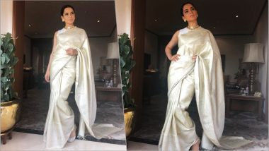 Kangana Ranaut Looks Regal in a Pearl White Saree From Madhurya at Manikarnika's Special Screening for President Ram Nath Kovind (See Pics)